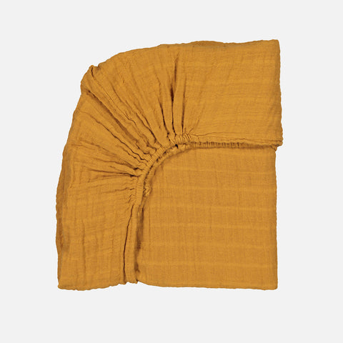Cotton Papuche Fitted Sheet - Mustard - Single (90x190cm)