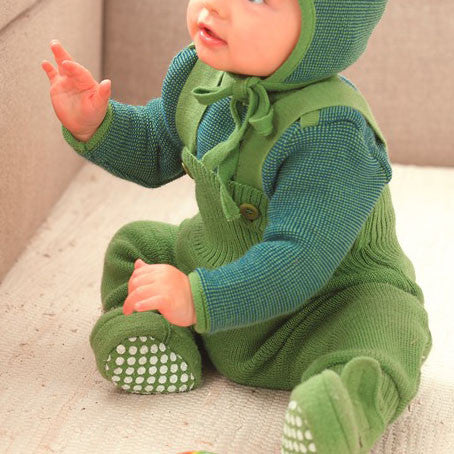 Wool knitted baby dungaree - Berry and Green - 0-12m
