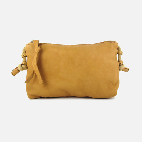 Pochette Organic Leather Clutch Bag - Natural