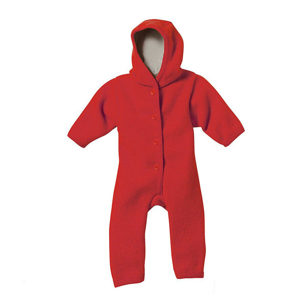 Organic Boiled Merino Wool Overall - Red - 3-6m