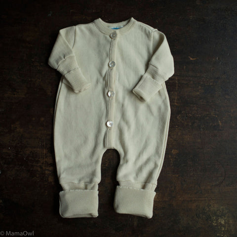 Wool/Silk Terry Sleep Suit- Natural