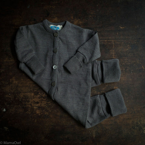 Wool/Silk Terry Sleep Suit- Slate