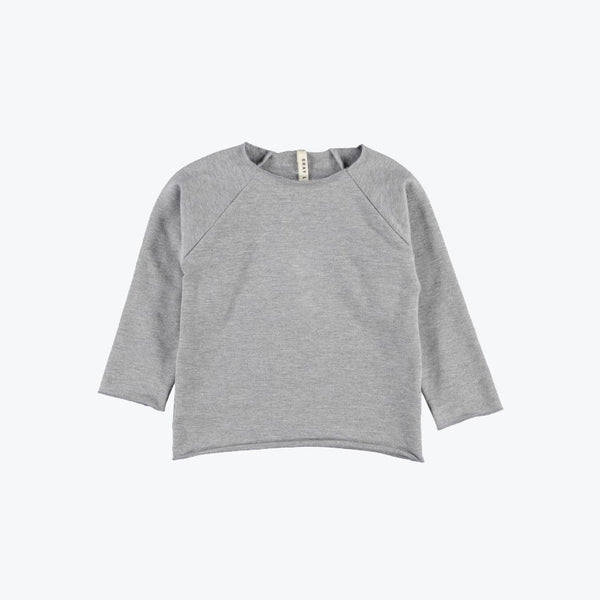 Organic Ribless Sweater - Grey Melange - 3-8yr