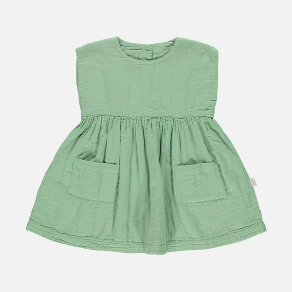 Organic Cotton Pocket Dress - Green Jade - 2-6y