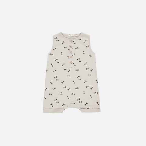Cotton Bow Tie Sweat Romper - Cloud - 3m-3y