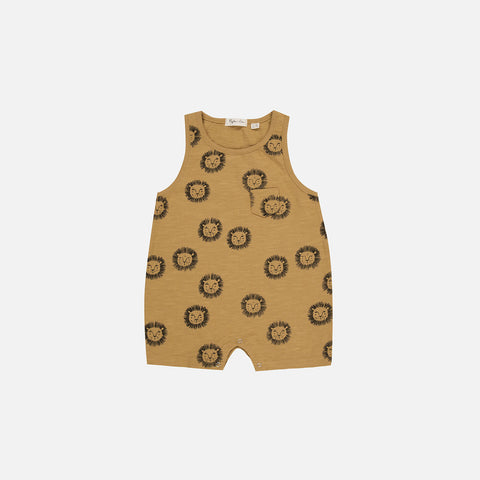 Cotton Lion Romper - Mustard - 3-6m