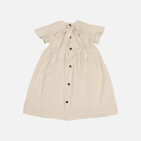 Handmade Linen Florence Dress - Chino Beige -  2-6y