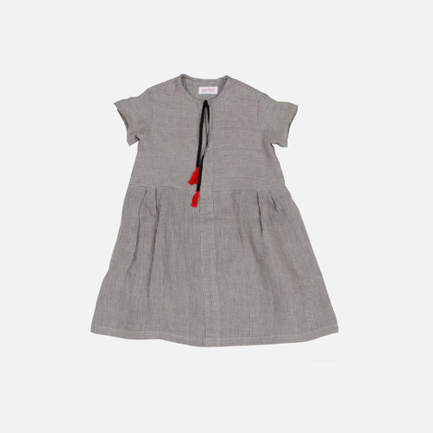 Handmade Linen Mila Dress - Grey Stripe -  4-8y