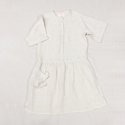 Linen Shirt Dress - Off White - 2-10y