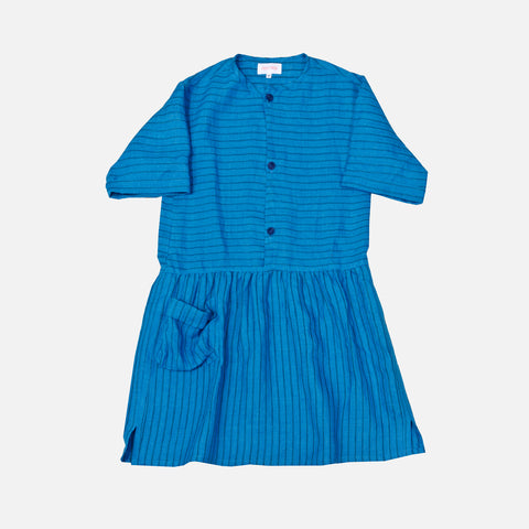Linen Shirt Dress Stripe - Blue - 2-3 & 8y