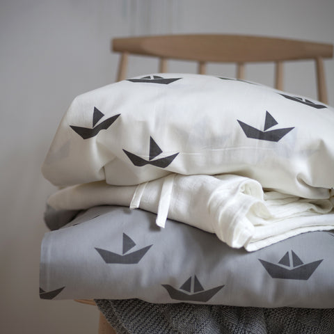 Organic Cotton Duvet & Cushion Cover - Grey Ship - Single