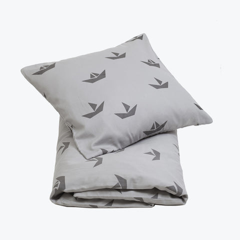Organic Cotton Duvet & Cushion Cover - Grey Ship - Cot Size