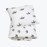 Organic Cotton Duvet & Cushion Cover - White Ship - Single