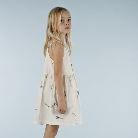 Pima Cotton Twill Scissors Dress - Off-White - 2-8y