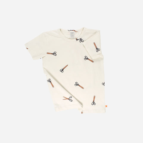 Pima Cotton Scissors Tee - Off-White - 3-6m