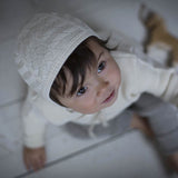 Knitted Silk Bonnet - Natural - 0-36m