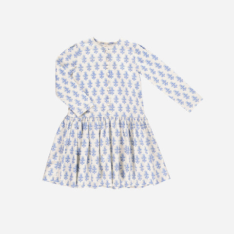Organic Cotton Simone Flower Dress - Off-White - 2-7y