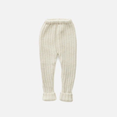 Cotton/Alpaca Knit Baby Everyday Pants - Natural - 3m-6m