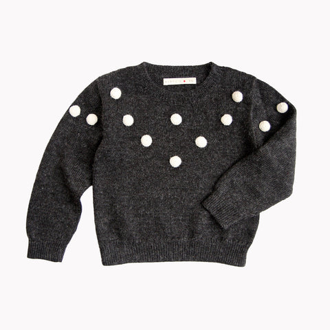 Alpaca Dots Sweater - Charcoal - 5-8y