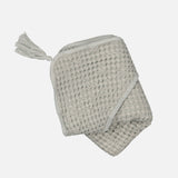 Cotton Sybel Bee Honeycomb Hooded Towel with Pompon - Almond