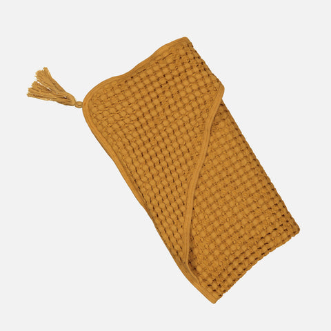 Cotton Sybel Honeycomb Hooded Towel with Pompon - Mustard