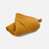 Cotton Muslin Sybel Baby Hooded Towel with Pompon - Mustard