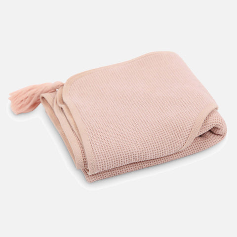 Cotton Sybel Honeycomb Hooded Towel with Pompon - Rose