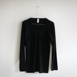Organic Silk & Merino Wool Women's LS Top - Black