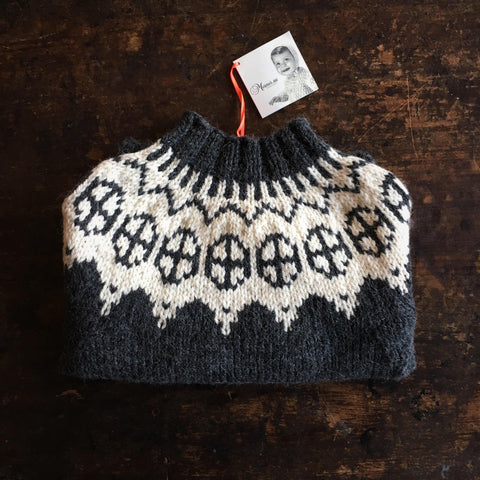 Palle wool/alpaca sweater dark Grey/White 2-10y