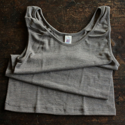 Organic Silk/Merino Ladies Sleeveless Top/Vest - Walnut or natural
