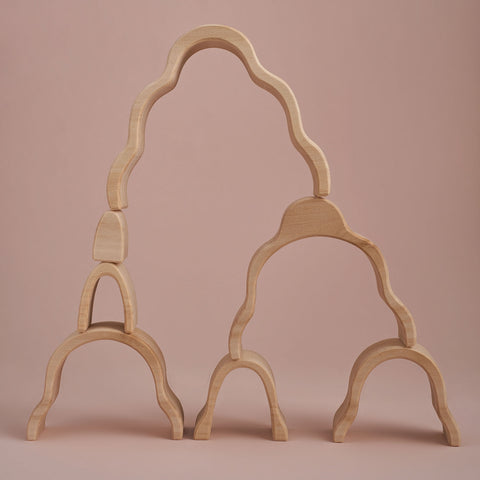 Wooden Waterfall Arch Stacker - Natural