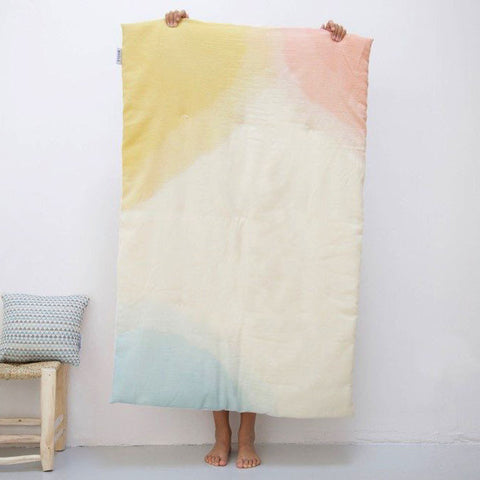 Wava Hand Dyed Wool Baby Quilt - Rainbow Pink