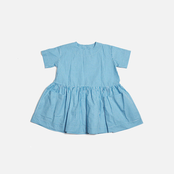 Pocket Dress SS - Blue Gingham - 6-18m