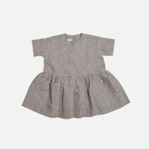 Linen Pocket Dress SS - Mini Check - 18m-12y