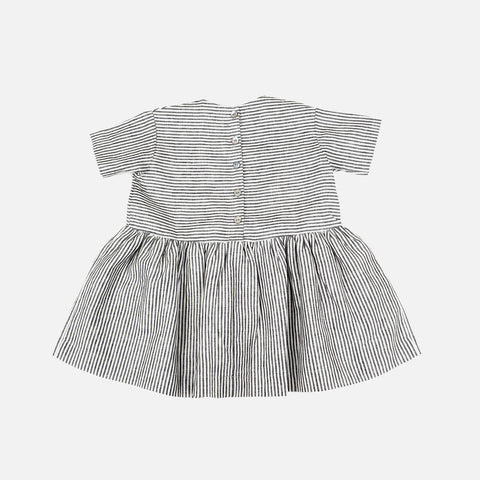 Linen Pocket Dress - Short sleeved- Striped - 6m-3y