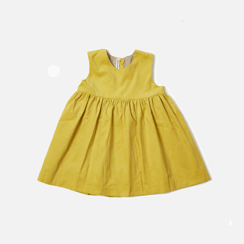 Corduroy Pocket Dress Sleeveless - Yellow - 18m-12y