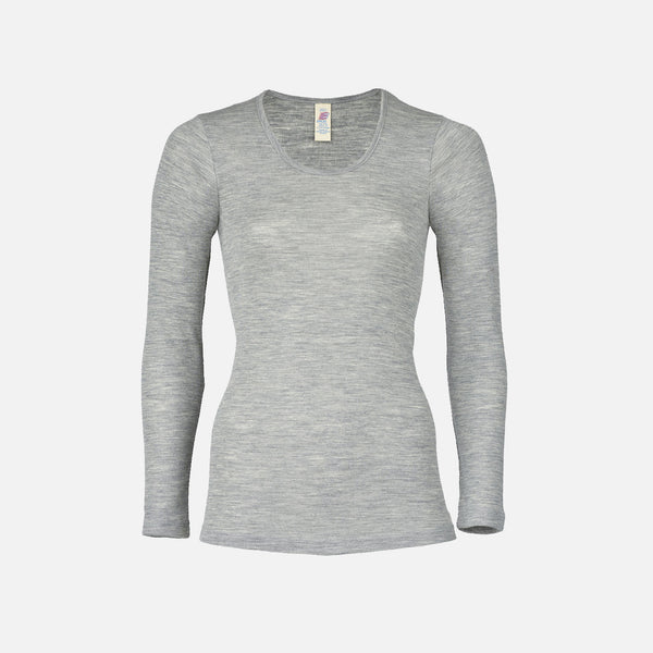 Organic Silk & Merino Wool Women's LS Vest Top - Grey
