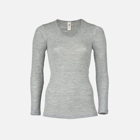 Organic Silk & Merino Wool Women's LS Top - Grey