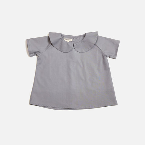 Cotton Peter Pan Shirt SS - Grey - 6m-8y