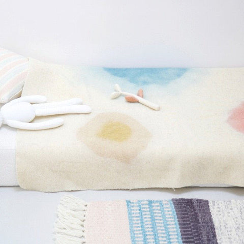 Woven Wool Kids Blanket - Natural Dyes - Blue/Pink/Ochre