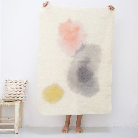 Woven Wool Kids Blanket - Natural Dyes - Grey/Pink/Ochre