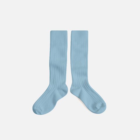 Babies & Kids Cotton Knee Socks - Zinc Blue - 1-12y