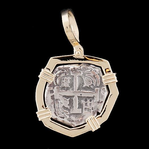 Atocha Jewelry - Odd Shape Silver Coin Pendant with 14K Gold Frame