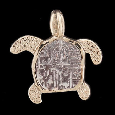 Atocha Jewelry - Small Silver Coin Sterling Silver Turtle Pendant