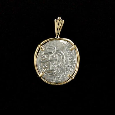 Atocha Jewelry - 1 Reale Silver Coin Pendant with 14K Gold Frame