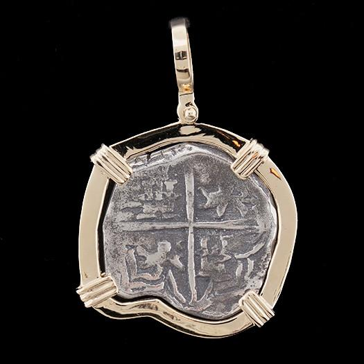 Atocha Jewelry - Large Museum Reale Silver Coin Pendant with 14K Gold Frame