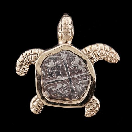 Atocha Jewelry - Small Silver Coin 14K Gold Turtle Pendant