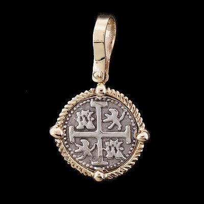 Atocha Jewelry - Small Silver Coin Pendant w/14K Gold Four Point Frame