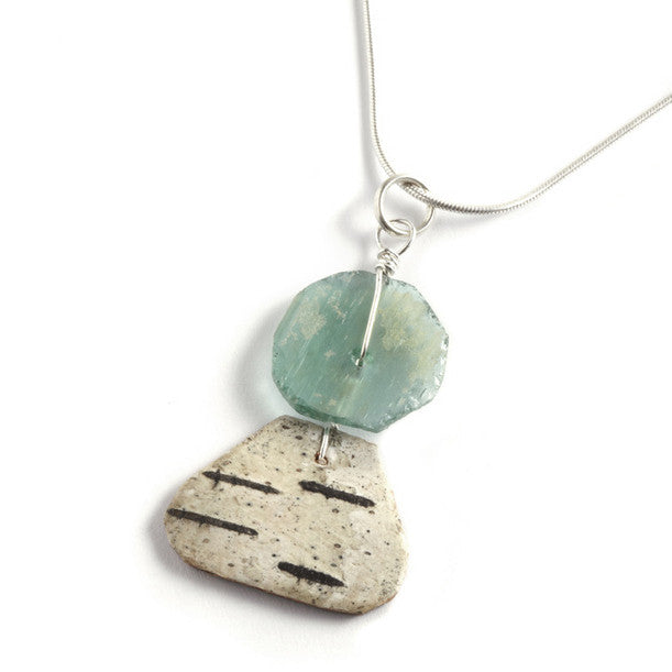 Tessoro Necklace - Natural Birchbark and Ancient Roman Glass