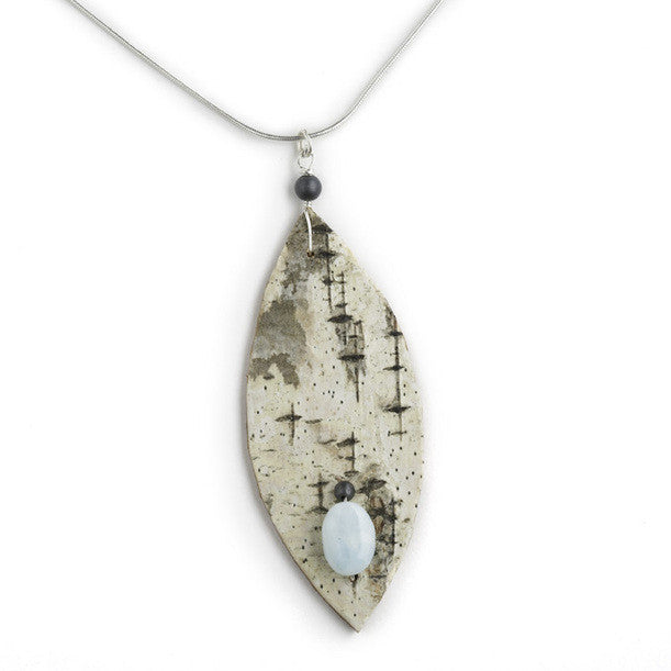 Tessoro Necklace - Natural Birchbark, Peruvian Opal and Hematite